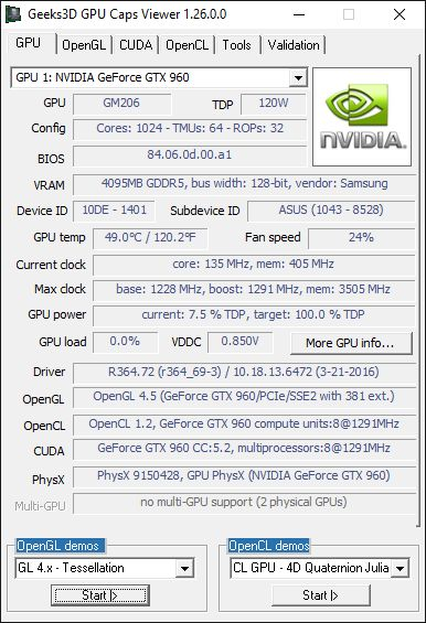 GPU Caps Viewer + R364.72 + GTX 960