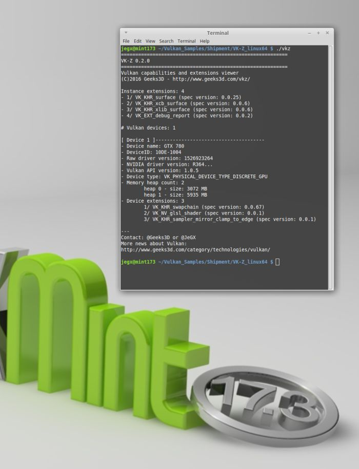 VK-Z on Linux Mint 17.3 - Vulkan API information