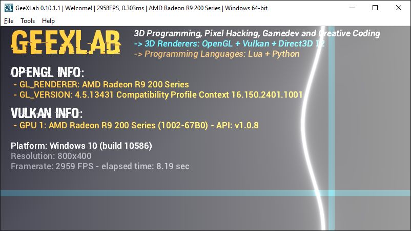 AMD Crimson graphics driver + GeeXLab