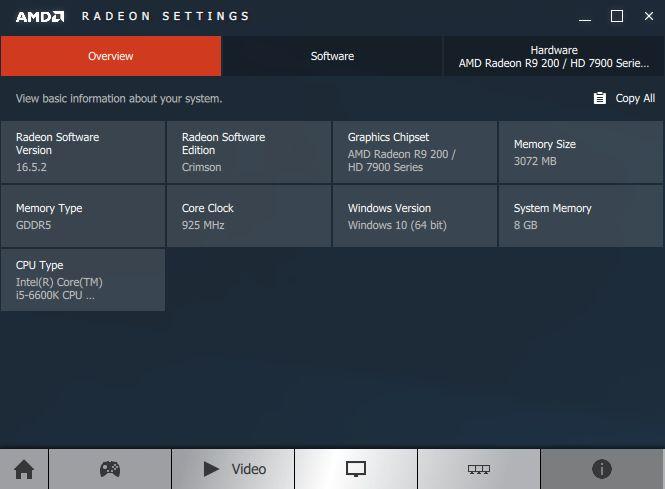 AMD Crimson system information