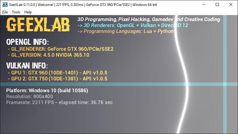GeeXLab 0.11.0 for Windows