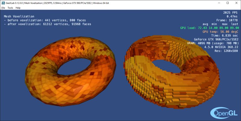 GeeXLab - mesh voxelization