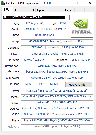 GPU Caps Viewer - GPU panel