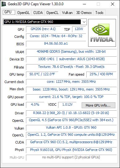 GPU Caps Viewer - GPU panel