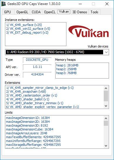 GPU Caps Viewer 1.30.0 + Vulkan API panel