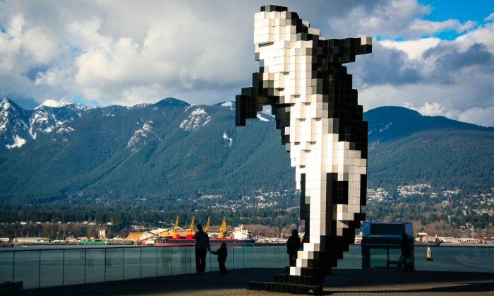 Digital Orca statue - Vancouver