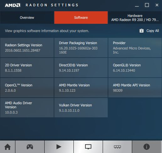 AMD Crimson 16.6.1 software information