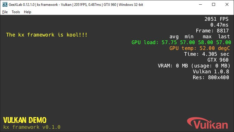 GeeXLab - kx framework - Vulkan