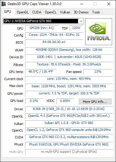 NVIDIA R368.39 WHQL - GPU Caps Viewer