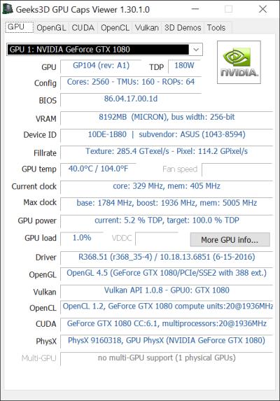 ASUS ROG Strix GeForce GTX 1080 OC 8GB GDDR5X - GPU Caps Viewer