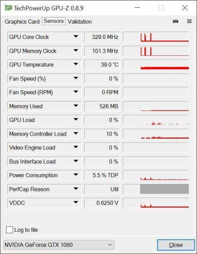 ASUS ROG Strix GeForce GTX 1080 OC 8GB GDDR5X - GPU-Z hardware sensors