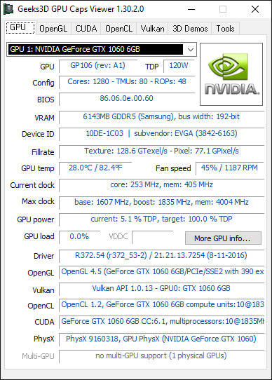 NVIDIA R372.54 + GTX 1060 + GPU Caps Viewer