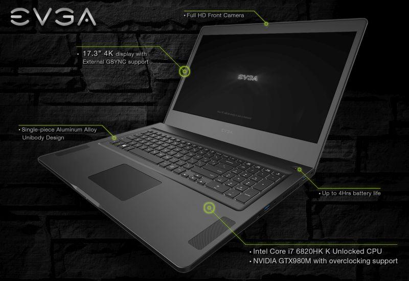 EVGA SC17 Gaming Laptop with 4K Display | Geeks3D